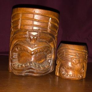 Other - Rare vintage genuine monkey pod tiki mug wood set